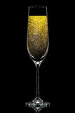Silhouette de verre coloré de champagne sur le noir Image stock