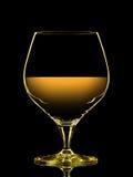 Silhouette de verre coloré de whiskey sur le noir Image libre de droits