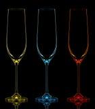 Silhouette de verre de champagne de couleur sur le noir Photographie stock libre de droits