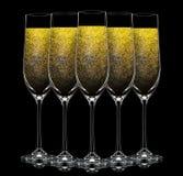 Silhouette de verre de champagne de couleur sur le noir Photographie stock