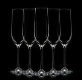Silhouette de verre de champagne sur le noir Photos libres de droits