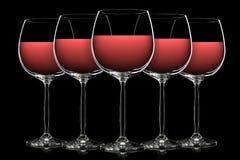 Silhouette de verre de vin de couleur sur le noir Image libre de droits