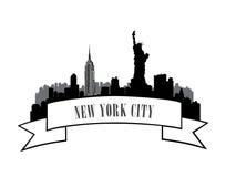 Silhouette de ville de croquis d'horizon de New York, Etats-Unis avec le monument de liberté Photos stock