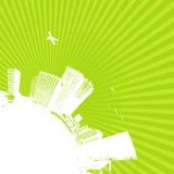 Silhouette de ville sur le Ba vert illustration de vecteur