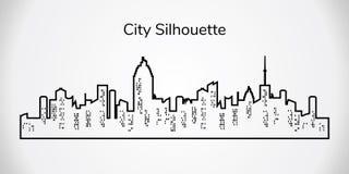 Silhouette de ville de vecteur Paysage de ville sur le fond blanc illustration libre de droits