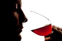 Silhouette de vin degusting de l'homme photo stock