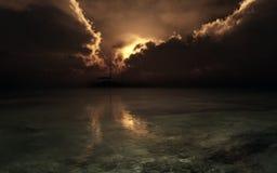 Silhouette de voilier sur le coucher du soleil orageux illustration libre de droits