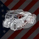 silhouette de voiture de hot rod dans la fumée avec le meilleur lettrage fait sur commande de boutique sur le drapeau des Etats-U illustration stock