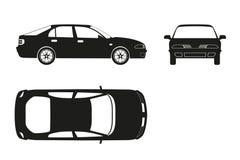 Silhouette de voiture sur un fond blanc Trois vues : avant, côté Images stock