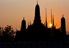 Silhouette de Wat Phra Kaew Images stock
