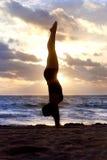 Silhouette de yoga Photographie stock