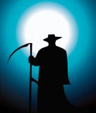 Silhouette of death reaper. Over blue background royalty free illustration