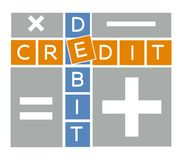 Silhouette debit and credit crossword Royalty Free Stock Photography