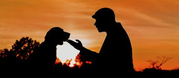 Silhouette of a deep friendship between man and dog Stock Photos