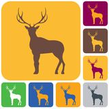 Silhouette of the deer. Flat deer icon Stock Images