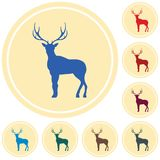 Silhouette of the deer. Flat deer icon Stock Photography