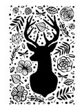 Silhouette of deer in the flower pattern. Hand drawn design elem Royalty Free Illustration