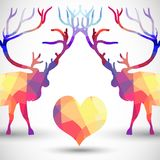 Silhouette a deer of geometric shapes with heart Stock Photos