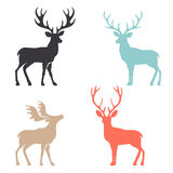 Silhouette deer with great antler animal vector illustration. Various silhouettes of deer on white background, christmas deers royalty free illustration