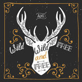 Silhouette of a deer. Hand drawn typography poster, greeting card, for t-shirt design Wild and free, Stock Photography