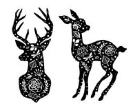 Silhouette of deer and little baby fawn with flower pattern. Han Stock Images