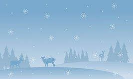 Silhouette of deer with snowflakes scenery Royalty Free Stock Images