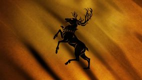 Silhouette of deer standing on its hind legs depicted on background of developing golden flag. Animation. Emblem of. House Baratheon. Concept of series Game of stock video footage
