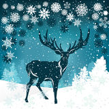 Silhouette of deer on winter background. Silhouette of deer with big antler on winter background Royalty Free Stock Photography
