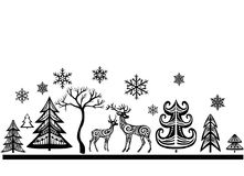 Silhouette of deers and trees. Xmas decoration for window Royalty Free Stock Image