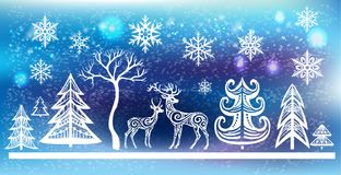 Silhouette of deers and trees. Xmas decoration for window Stock Photography