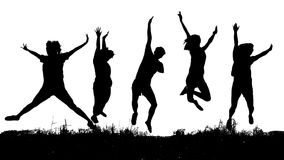 Silhouette des amis sautant d'isolement sur le fond blanc Image stock