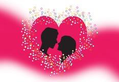 Silhouette des amoureux Image stock