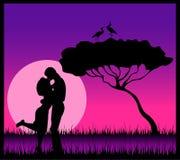 Silhouette des amoureux Photo stock