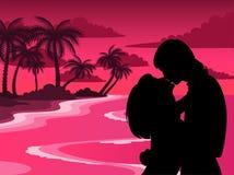 Silhouette des amoureux Photo libre de droits