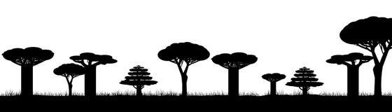 Silhouette des arbres de l'Afrique noirs sur le fond blanc, illustration de vecteur illustration libre de droits
