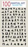 Silhouette 100 des arts martiaux illustration stock