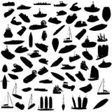 Silhouette des bateaux Photos stock