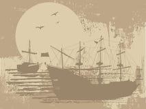 Silhouette des bateaux de pirate Images stock
