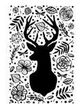 Silhouette des cerfs communs dans le modèle de fleur Elem tiré par la main de conception Images stock