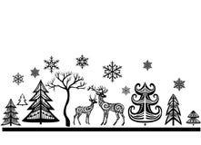 Silhouette des cerfs communs et des arbres Image libre de droits