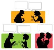 Silhouette des couples émotifs Photographie stock