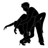 Silhouette des danseurs Image stock