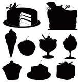 Silhouette des desserts Photos libres de droits