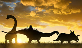 Silhouette des dinosaures image stock