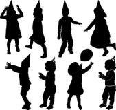 Silhouette des enfants Images libres de droits