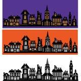 Silhouette des façades stylisées des bâtiments Photographie stock libre de droits