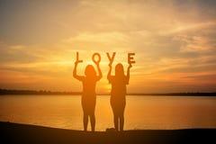 Silhouette des femmes tenant le mot d'amour Image libre de droits