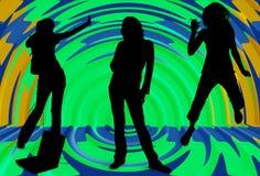 Silhouette des filles écoutant la musique Image stock