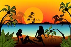Silhouette des filles Images libres de droits