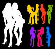 Silhouette des filles Photo stock